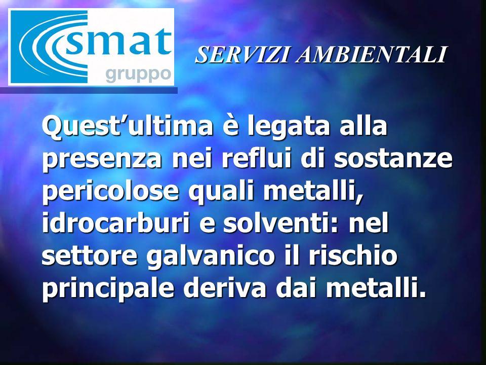 SERVIZI AMBIENTALI Questultima è legata alla presenza nei reflui di sostanze pericolose quali metalli, idrocarburi e solventi: nel settore galvanico il rischio principale deriva dai metalli.