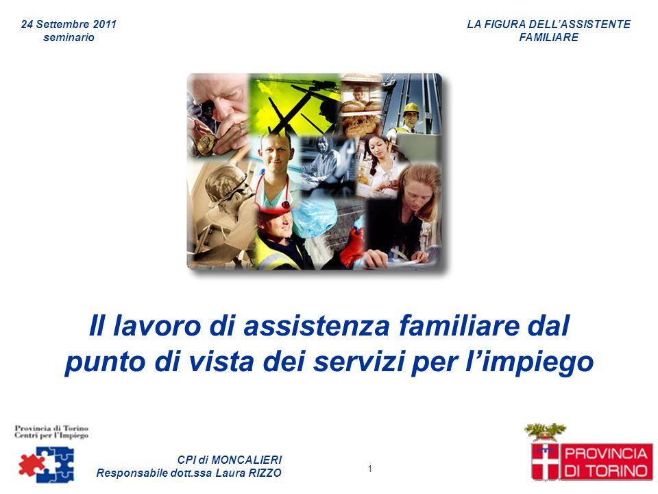 LA FIGURA DELLASSISTENTE FAMILIARE CPI di MONCALIERI Responsabile dott.ssa Laura RIZZO 24 Settembre 2011 seminario 1 Il lavoro di assistenza familiare