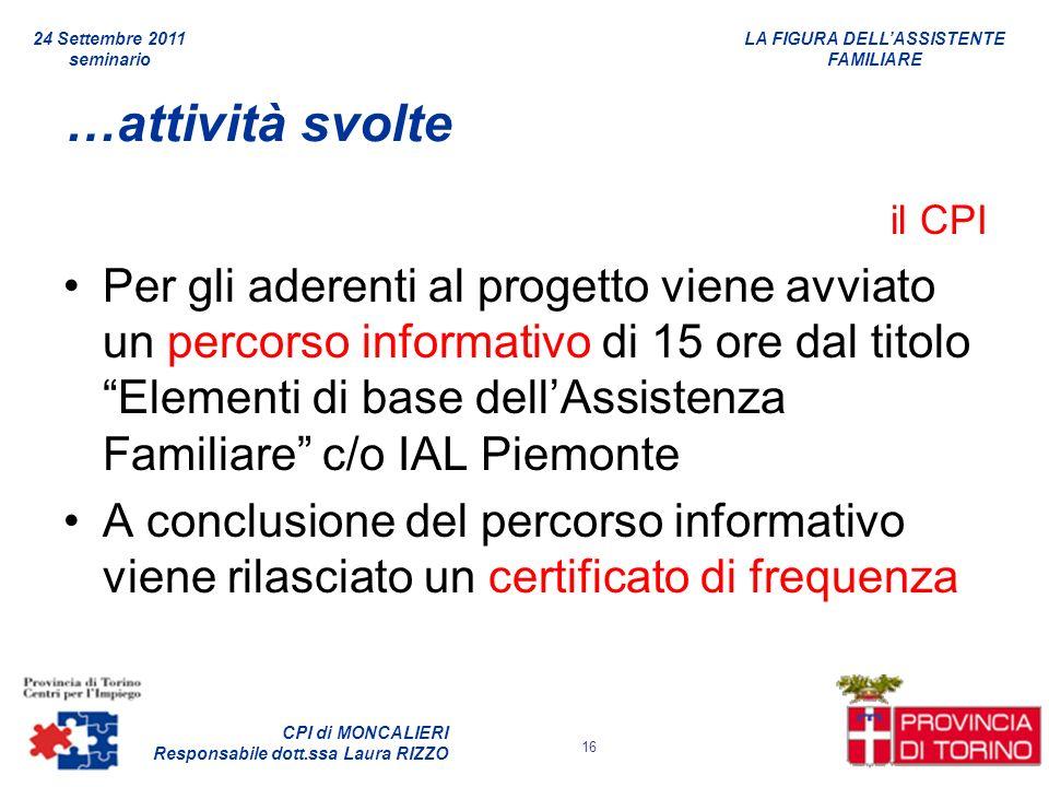 LA FIGURA DELLASSISTENTE FAMILIARE CPI di MONCALIERI Responsabile dott.ssa Laura RIZZO 24 Settembre 2011 seminario 16 …attività svolte il CPI Per gli