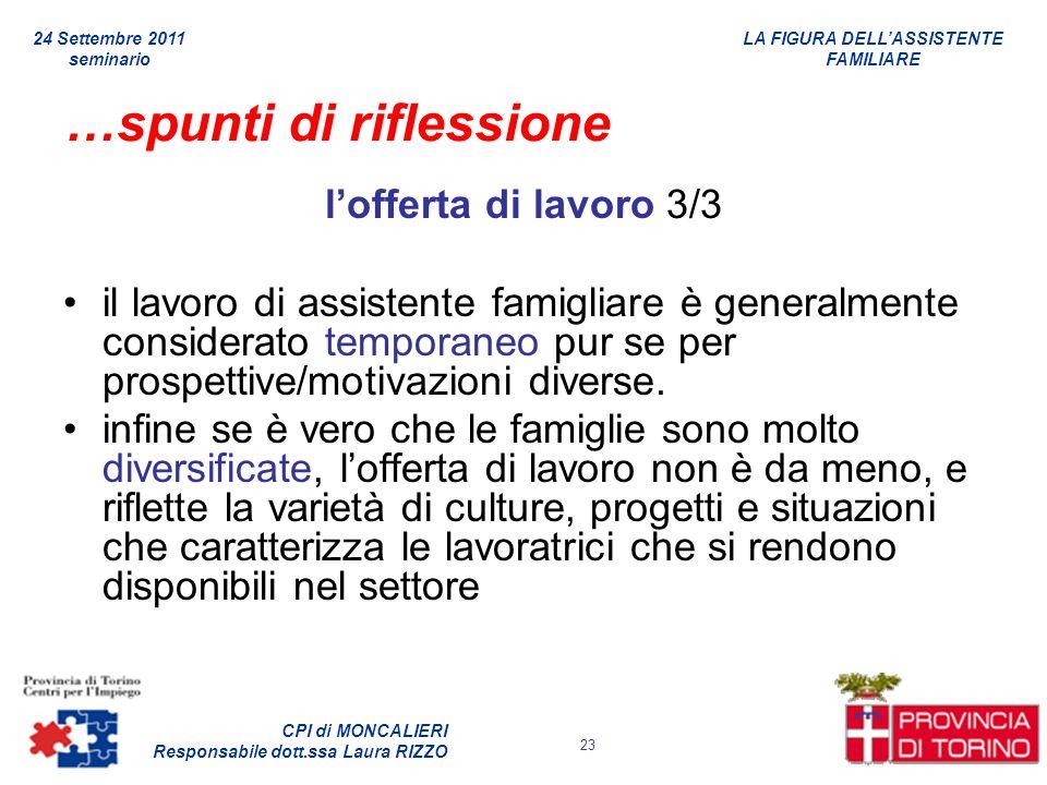 LA FIGURA DELLASSISTENTE FAMILIARE CPI di MONCALIERI Responsabile dott.ssa Laura RIZZO 24 Settembre 2011 seminario 23 …spunti di riflessione lofferta