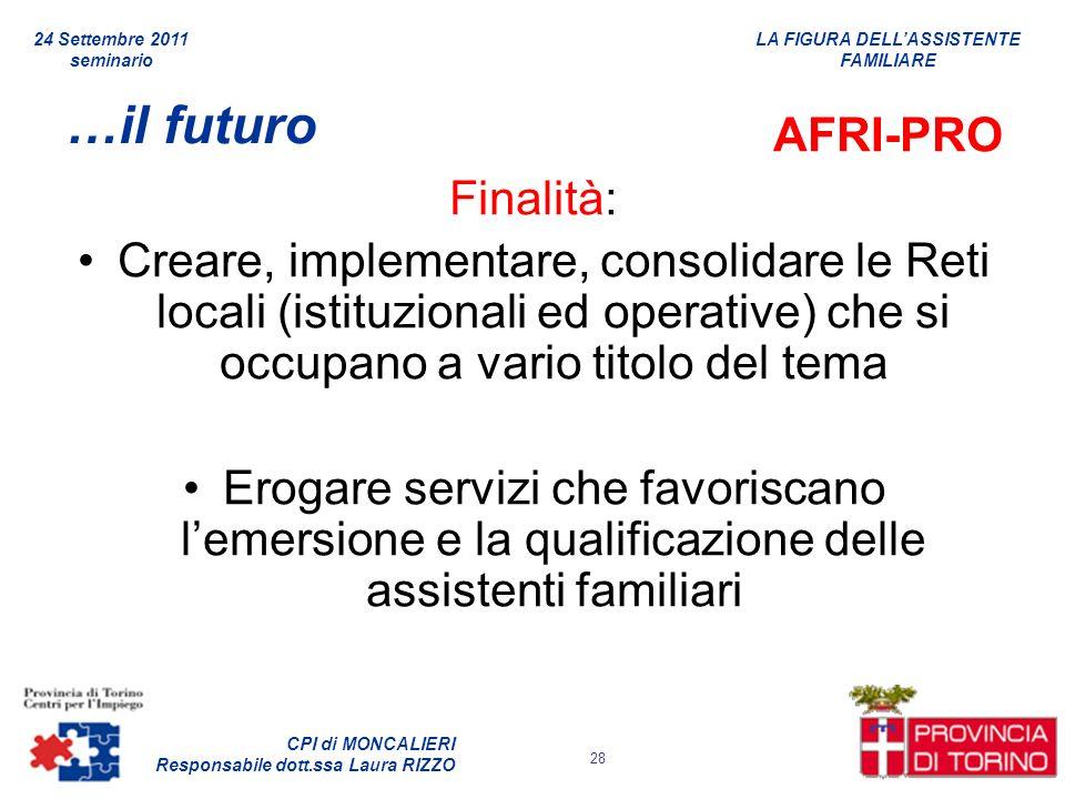 LA FIGURA DELLASSISTENTE FAMILIARE CPI di MONCALIERI Responsabile dott.ssa Laura RIZZO 24 Settembre 2011 seminario 28 …il futuro AFRI-PRO Finalità: Cr
