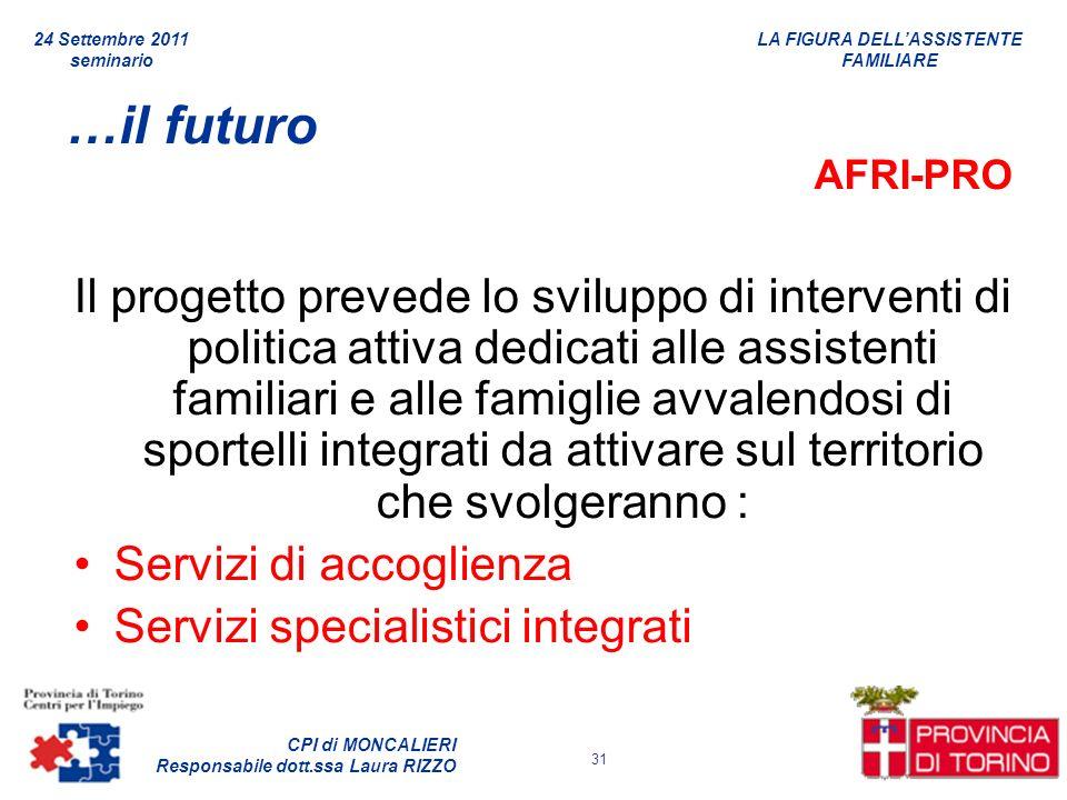LA FIGURA DELLASSISTENTE FAMILIARE CPI di MONCALIERI Responsabile dott.ssa Laura RIZZO 24 Settembre 2011 seminario 31 …il futuro AFRI-PRO Il progetto