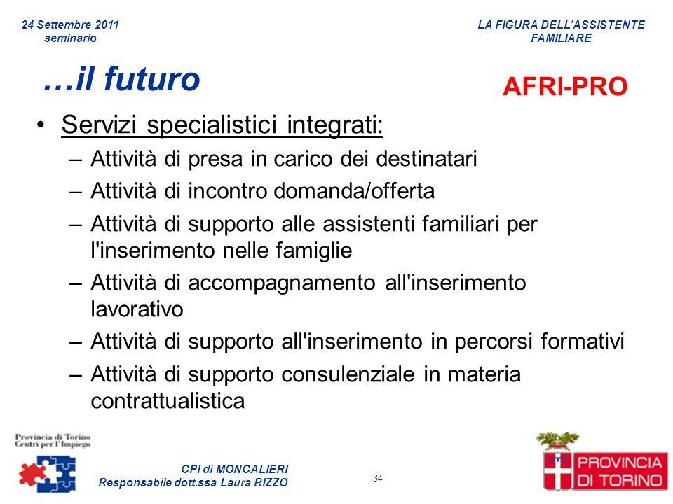 LA FIGURA DELLASSISTENTE FAMILIARE CPI di MONCALIERI Responsabile dott.ssa Laura RIZZO 24 Settembre 2011 seminario 34 …il futuro AFRI-PRO Servizi spec