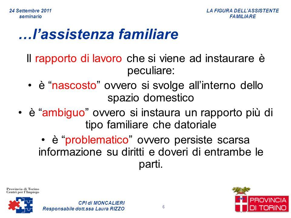 LA FIGURA DELLASSISTENTE FAMILIARE CPI di MONCALIERI Responsabile dott.ssa Laura RIZZO 24 Settembre 2011 seminario 6 …lassistenza familiare Il rapport