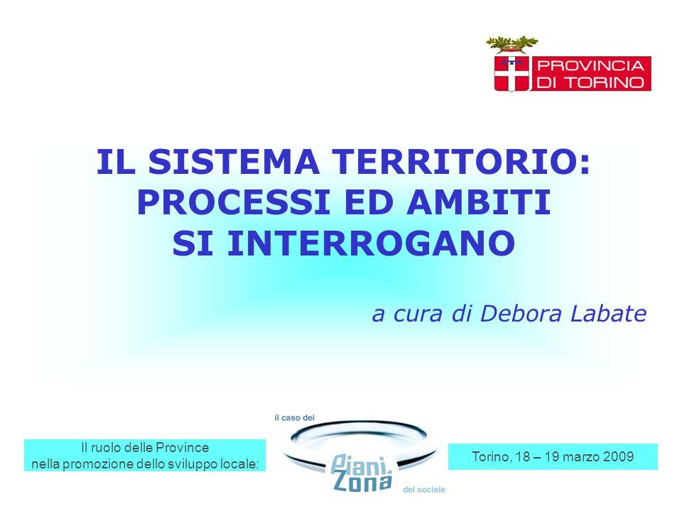 Il ruolo delle Province nella promozione dello sviluppo locale: Torino, 18 – 19 marzo 2009 IL SISTEMA TERRITORIO: PROCESSI ED AMBITI SI INTERROGANO a