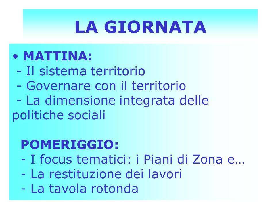 LA GIORNATA MATTINA: - Il sistema territorio - Governare con il territorio - La dimensione integrata delle politiche sociali POMERIGGIO: - I focus tem