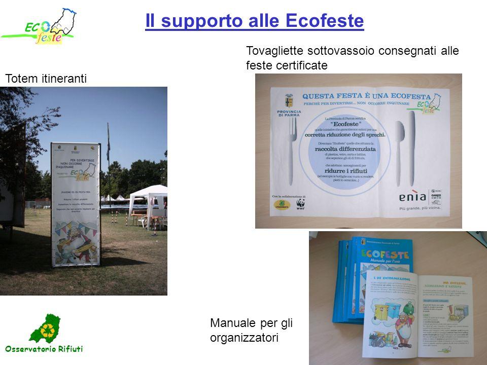 Osservatorio Rifiuti Tovagliette sottovassoio consegnati alle feste certificate Il supporto alle Ecofeste Totem itineranti Manuale per gli organizzatori