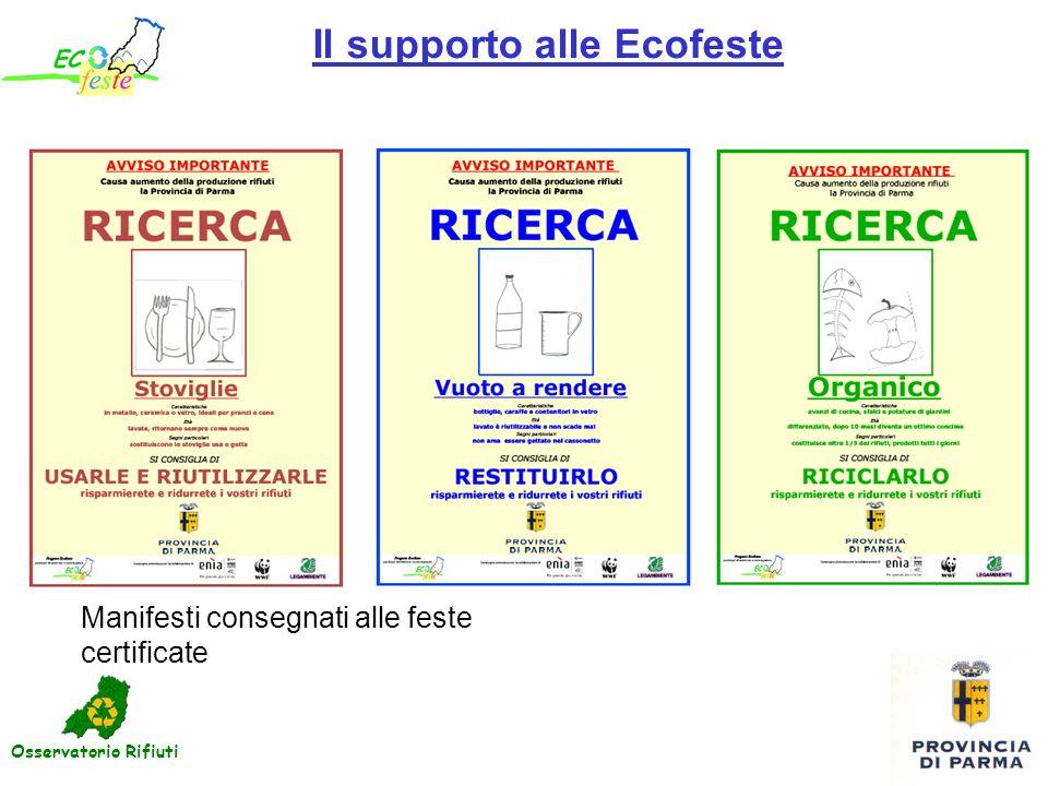 Il supporto alle Ecofeste Manifesti consegnati alle feste certificate Osservatorio Rifiuti