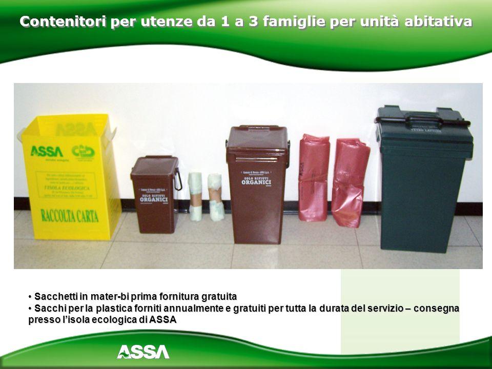 Contenitori per utenze da 1 a 3 famiglie per unità abitativa Sacchetti in mater-bi prima fornitura gratuita Sacchetti in mater-bi prima fornitura grat
