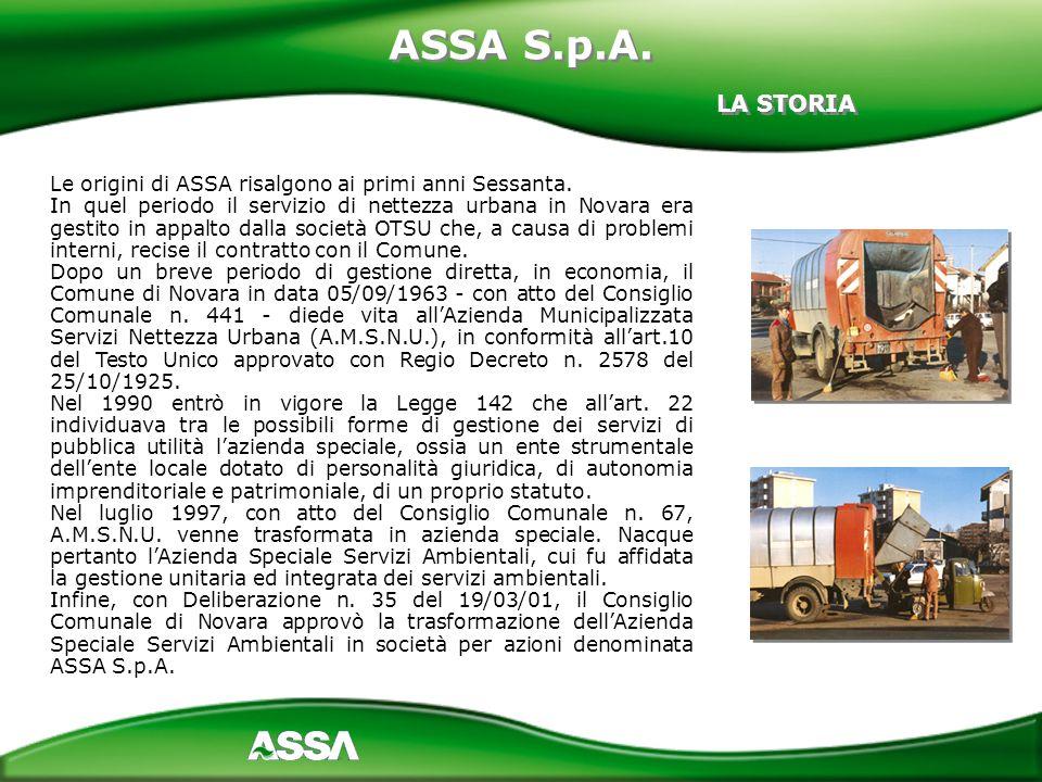 Le origini di ASSA risalgono ai primi anni Sessanta. In quel periodo il servizio di nettezza urbana in Novara era gestito in appalto dalla società OTS
