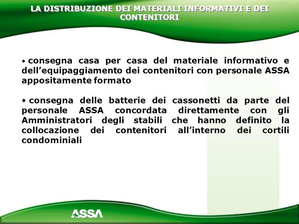 consegna casa per casa del materiale informativo e dellequipaggiamento dei contenitori con personale ASSA appositamente formato consegna delle batteri
