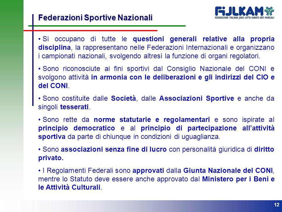 12 Federazioni Sportive Nazionali Si occupano di tutte le questioni generali relative alla propria disciplina, la rappresentano nelle Federazioni Inte