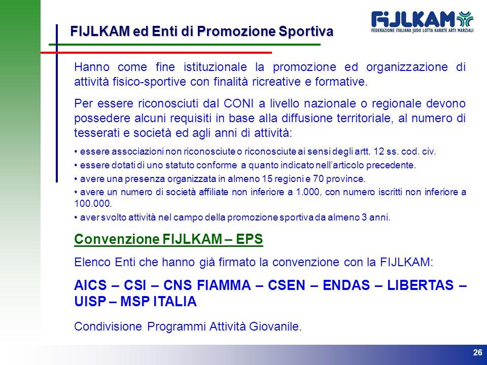 26 FIJLKAM ed Enti di Promozione Sportiva Hanno come fine istituzionale la promozione ed organizzazione di attività fisico-sportive con finalità ricre