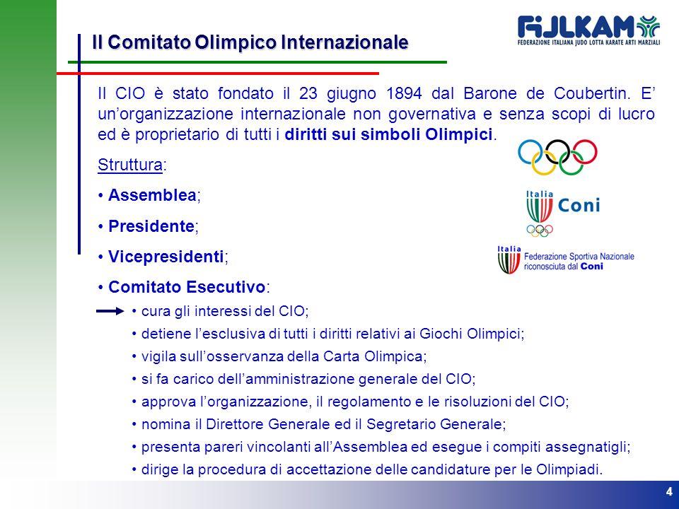 4 Il Comitato Olimpico Internazionale Il CIO è stato fondato il 23 giugno 1894 dal Barone de Coubertin. E unorganizzazione internazionale non governat