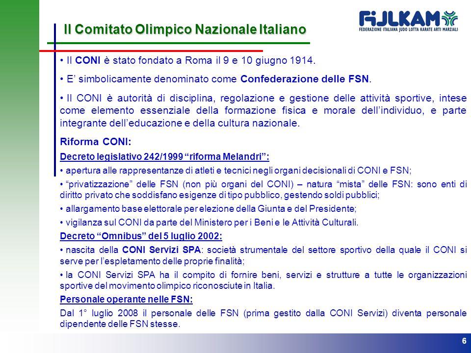 6 Il Comitato Olimpico Nazionale Italiano Il CONI è stato fondato a Roma il 9 e 10 giugno 1914. E simbolicamente denominato come Confederazione delle