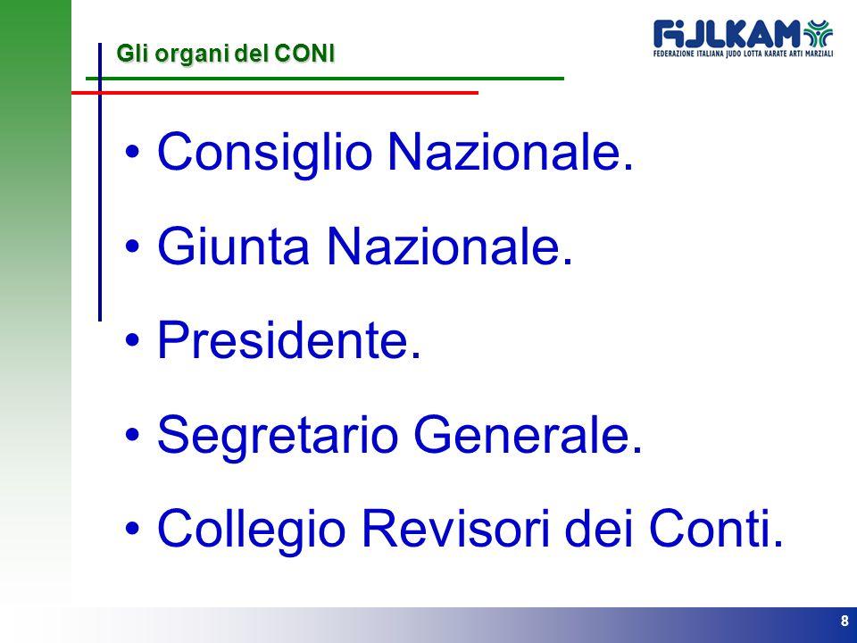 8 Gli organi del CONI Consiglio Nazionale. Giunta Nazionale. Presidente. Segretario Generale. Collegio Revisori dei Conti.