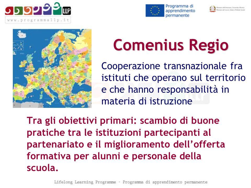 Comenius Regio Tra gli obiettivi primari: scambio di buone pratiche tra le istituzioni partecipanti al partenariato e il miglioramento dellofferta for