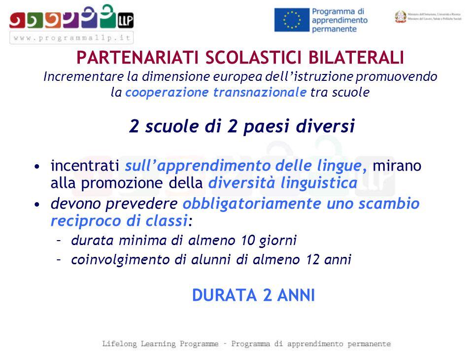 PARTENARIATI SCOLASTICI BILATERALI Incrementare la dimensione europea dellistruzione promuovendo la cooperazione transnazionale tra scuole 2 scuole di