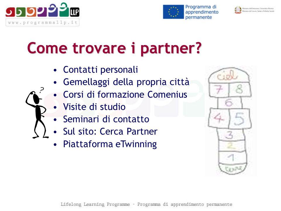 Come trovare i partner? Contatti personali Gemellaggi della propria città Corsi di formazione Comenius Visite di studio Seminari di contatto Sul sito: