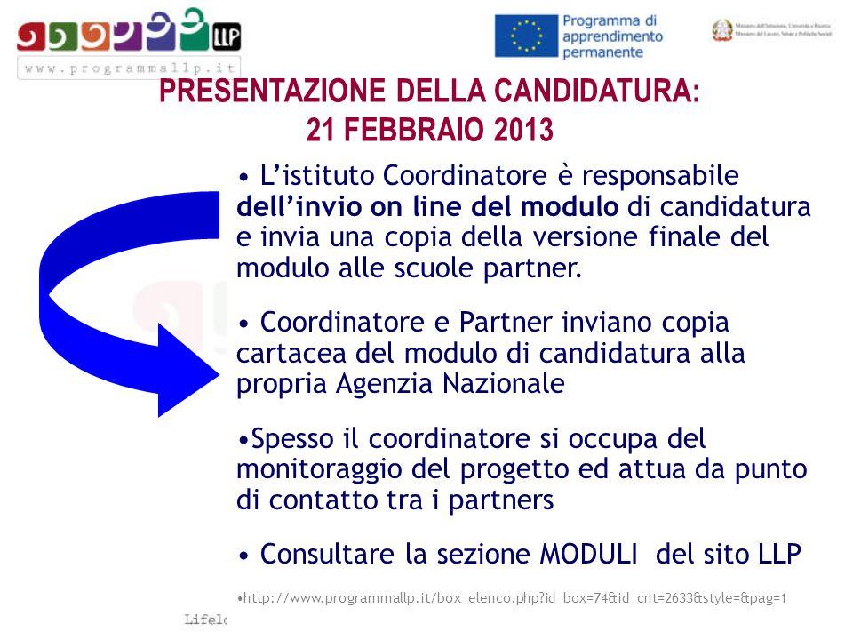 PRESENTAZIONE DELLA CANDIDATURA: 21 FEBBRAIO 2013 Listituto Coordinatore è responsabile dellinvio on line del modulo di candidatura e invia una copia