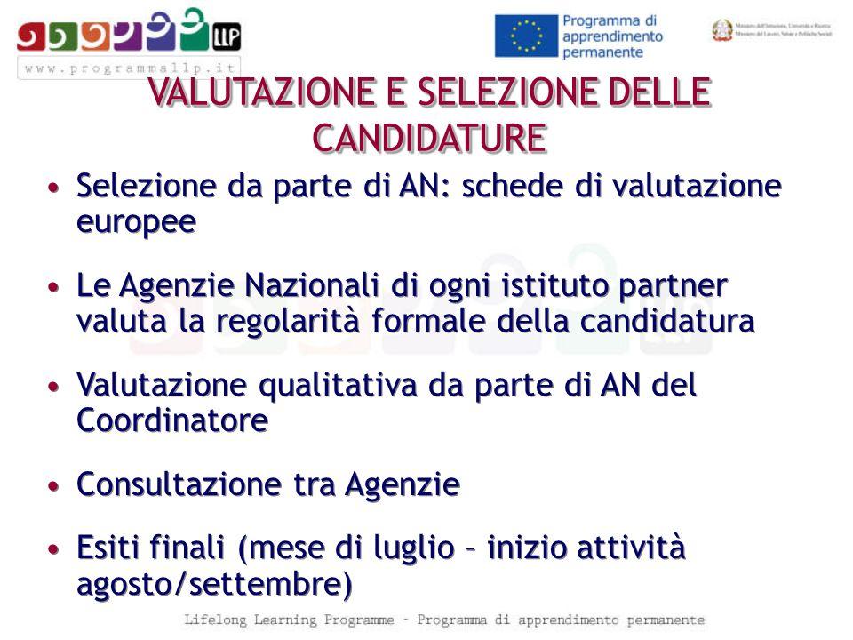 VALUTAZIONE E SELEZIONE DELLE CANDIDATURE Selezione da parte di AN: schede di valutazione europee Le Agenzie Nazionali di ogni istituto partner valuta