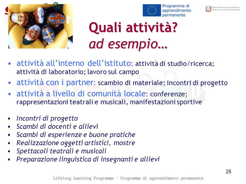 Quali attività? ad esempio… attività allinterno dellistituto : attività di studio/ricerca; attività di laboratorio; lavoro sul campo attività con i pa