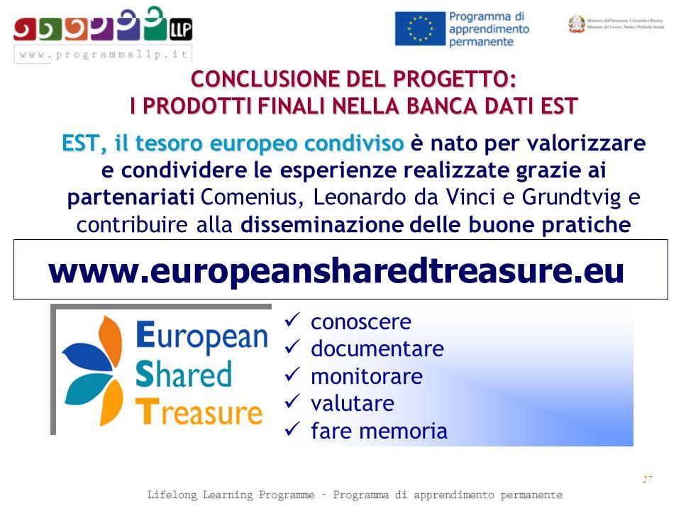 27 CONCLUSIONE DEL PROGETTO: I PRODOTTI FINALI NELLA BANCA DATI EST EST, il tesoro europeo condiviso CONCLUSIONE DEL PROGETTO: I PRODOTTI FINALI NELLA