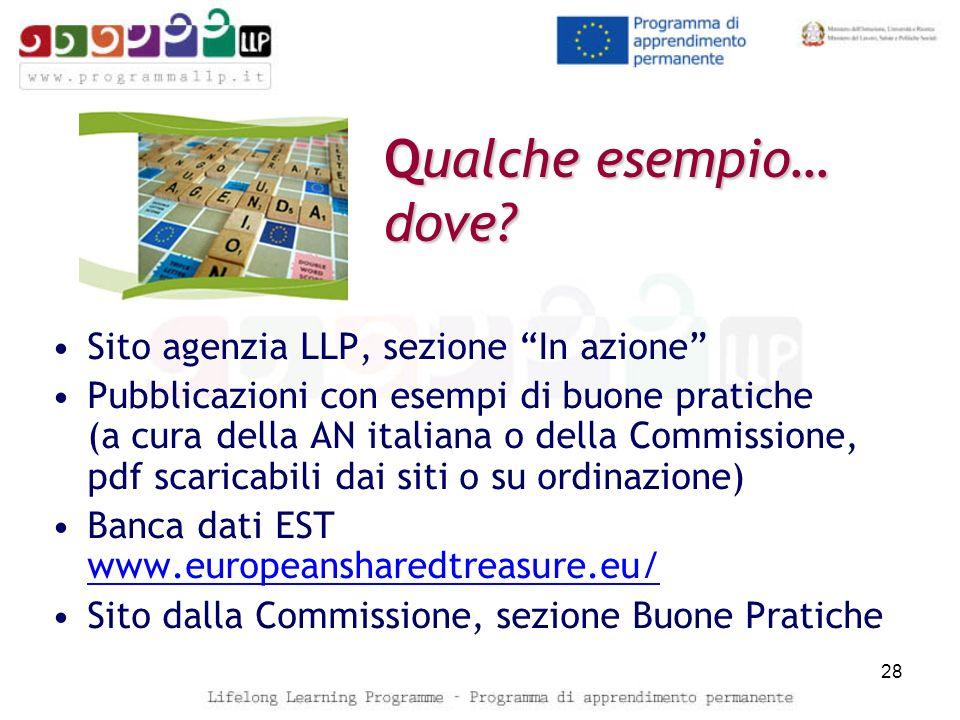 Qualche esempio… dove? Sito agenzia LLP, sezione In azione Pubblicazioni con esempi di buone pratiche (a cura della AN italiana o della Commissione, p