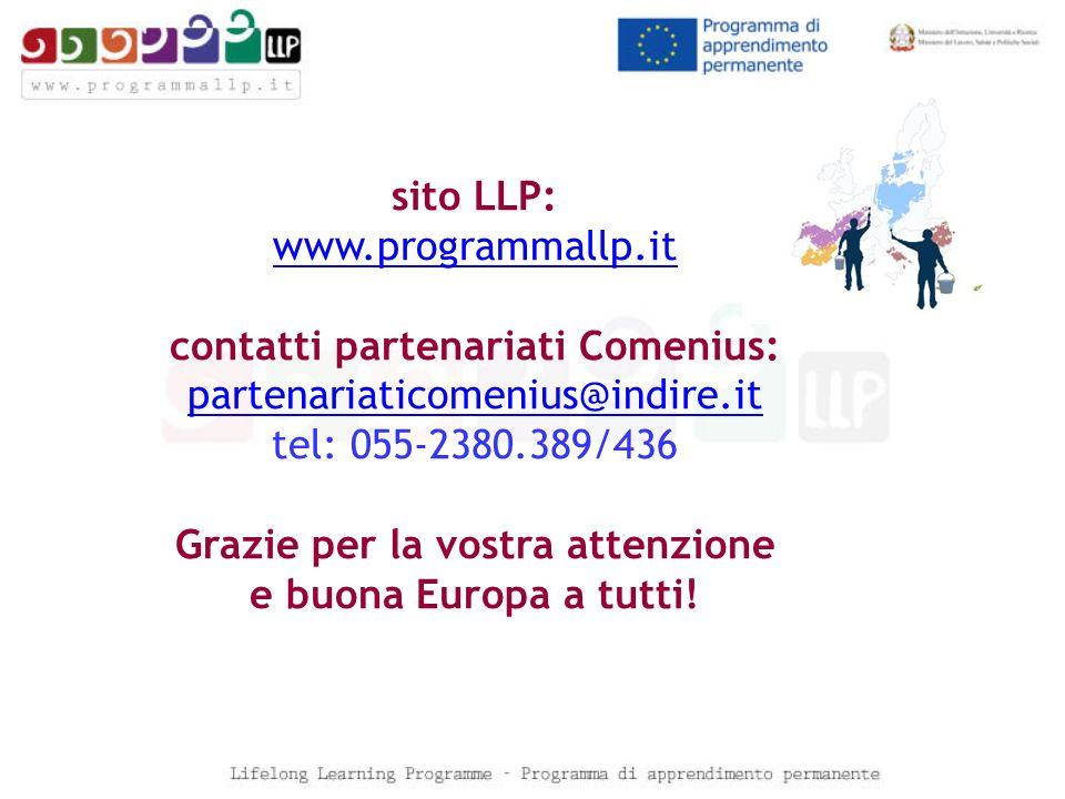 sito LLP: www.programmallp.it contatti partenariati Comenius: partenariaticomenius@indire.it tel: 055-2380.389/436 Grazie per la vostra attenzione e b