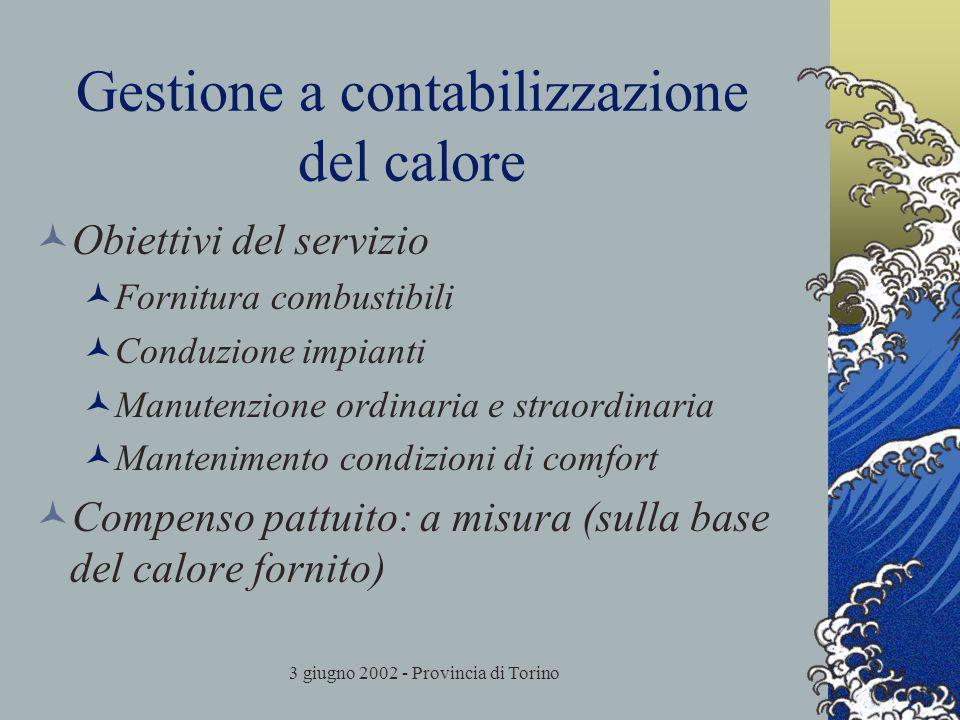 3 giugno 2002 - Provincia di Torino Gestione a contabilizzazione del calore Obiettivi del servizio Fornitura combustibili Conduzione impianti Manutenzione ordinaria e straordinaria Mantenimento condizioni di comfort Compenso pattuito: a misura (sulla base del calore fornito)
