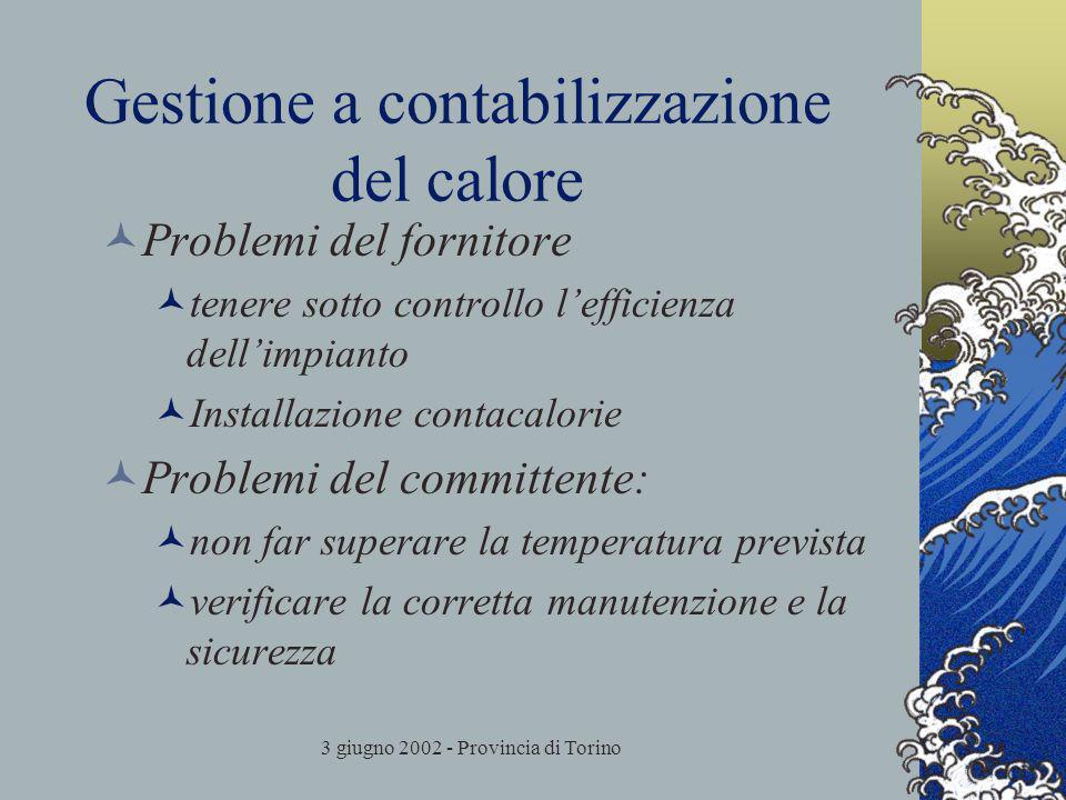 3 giugno 2002 - Provincia di Torino Gestione a contabilizzazione del calore Problemi del fornitore tenere sotto controllo lefficienza dellimpianto Installazione contacalorie Problemi del committente: non far superare la temperatura prevista verificare la corretta manutenzione e la sicurezza