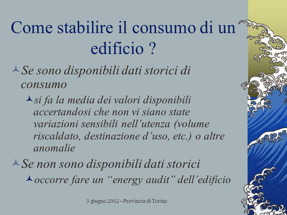 3 giugno 2002 - Provincia di Torino Come stabilire il consumo di un edificio ? Se sono disponibili dati storici di consumo si fa la media dei valori d