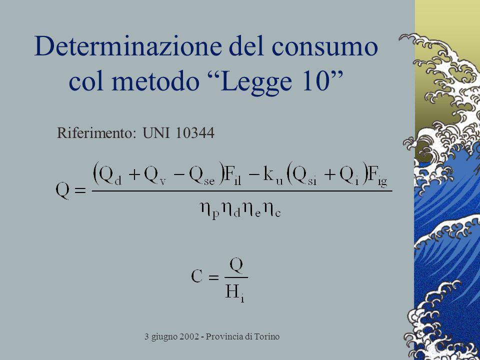 3 giugno 2002 - Provincia di Torino Determinazione del consumo col metodo Legge 10 Riferimento: UNI 10344