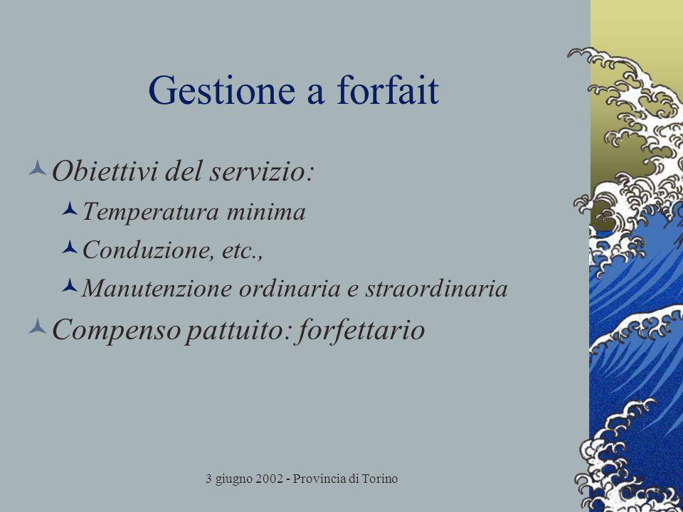 3 giugno 2002 - Provincia di Torino Gestione a forfait Obiettivi del servizio: Temperatura minima Conduzione, etc., Manutenzione ordinaria e straordinaria Compenso pattuito: forfettario