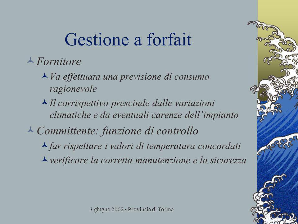 3 giugno 2002 - Provincia di Torino Gestione a forfait Fornitore Va effettuata una previsione di consumo ragionevole Il corrispettivo prescinde dalle