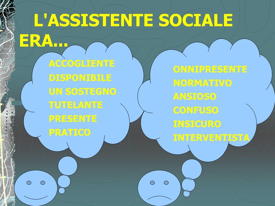 L'ASSISTENTE SOCIALE ERA... ACCOGLIENTE DISPONIBILE UN SOSTEGNO TUTELANTE PRESENTE PRATICO ONNIPRESENTE NORMATIVO ANSIOSO CONFUSO INSICURO INTERVENTIS