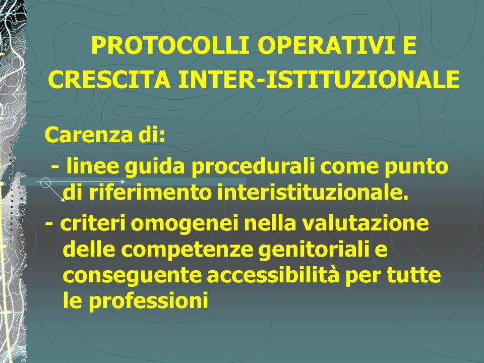 PROTOCOLLI OPERATIVI E CRESCITA INTER-ISTITUZIONALE Carenza di: - linee guida procedurali come punto di riferimento interistituzionale. - criteri omog