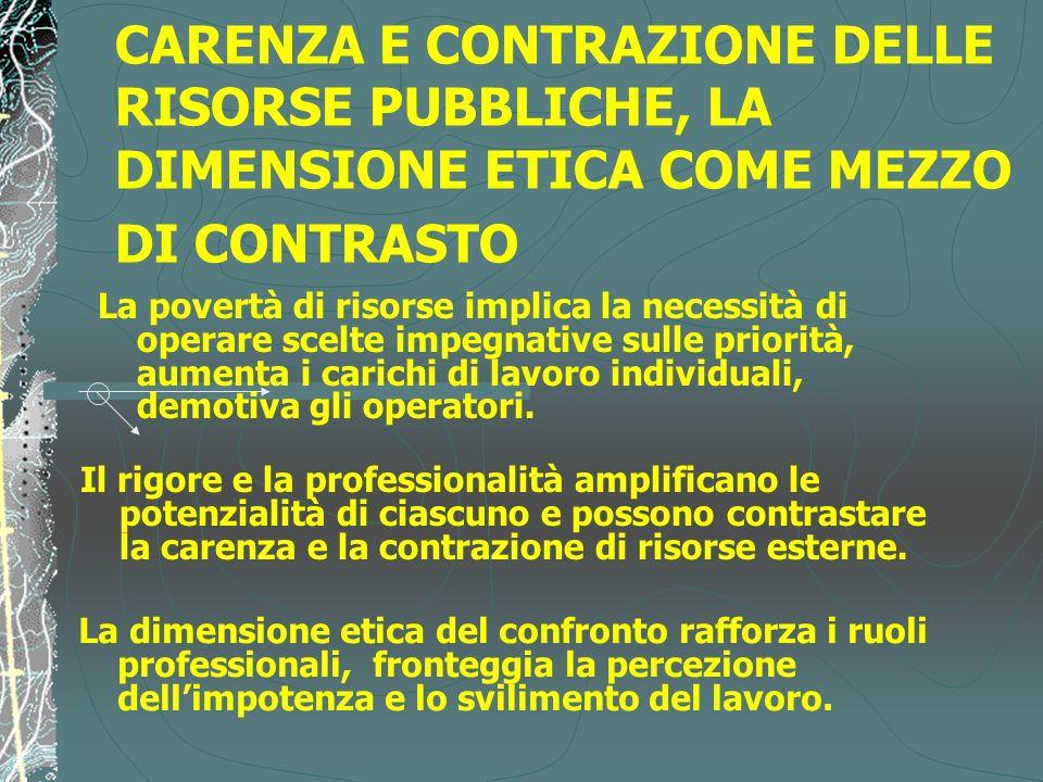 CARENZA E CONTRAZIONE DELLE RISORSE PUBBLICHE, LA DIMENSIONE ETICA COME MEZZO DI CONTRASTO La dimensione etica del confronto rafforza i ruoli professi