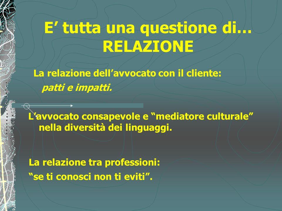 E tutta una questione di… RELAZIONE Lavvocato consapevole e mediatore culturale nella diversità dei linguaggi. La relazione tra professioni: se ti con