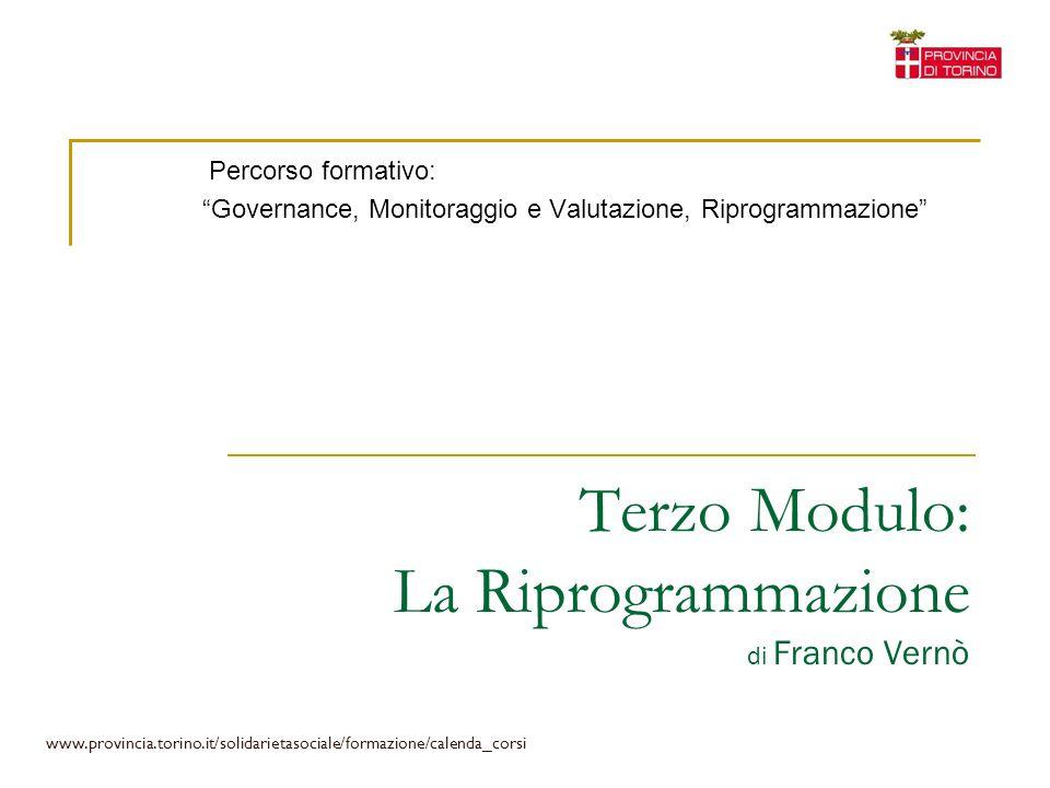 Terzo Modulo: La Riprogrammazione di Franco Vernò Percorso formativo: Governance, Monitoraggio e Valutazione, Riprogrammazione www.provincia.torino.it
