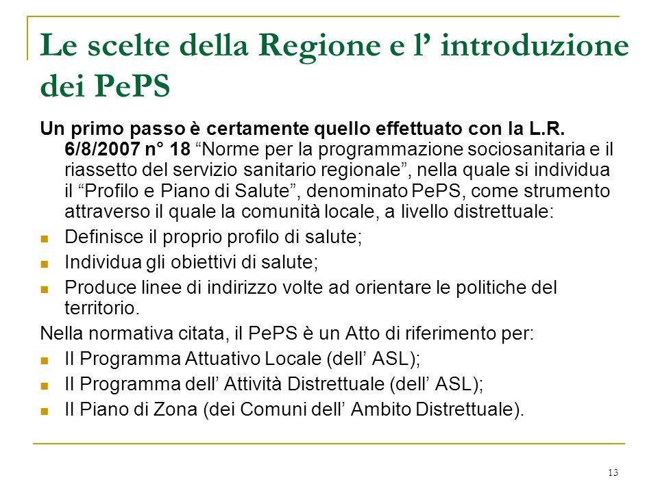 13 Le scelte della Regione e l introduzione dei PePS Un primo passo è certamente quello effettuato con la L.R. 6/8/2007 n° 18 Norme per la programmazi