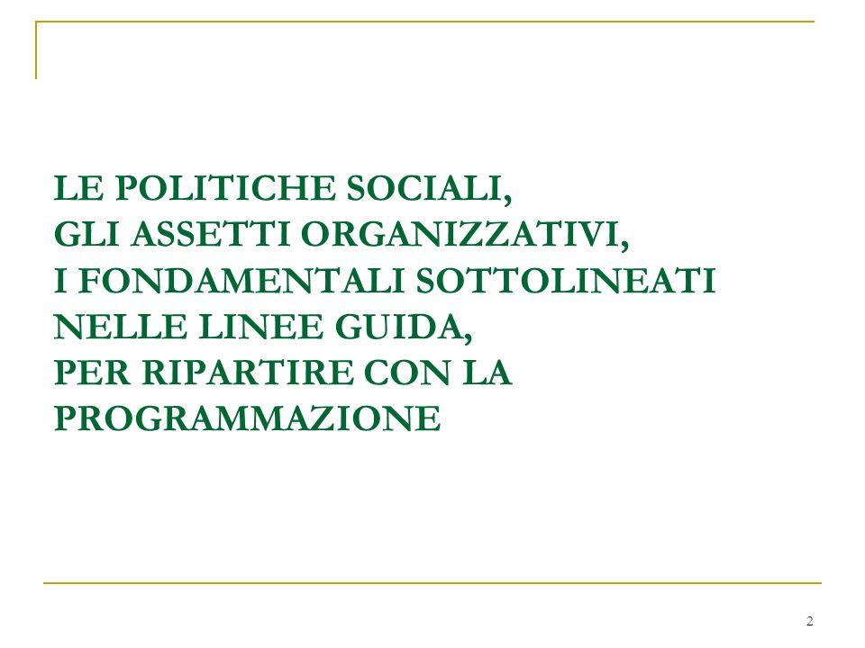 2 LE POLITICHE SOCIALI, GLI ASSETTI ORGANIZZATIVI, I FONDAMENTALI SOTTOLINEATI NELLE LINEE GUIDA, PER RIPARTIRE CON LA PROGRAMMAZIONE