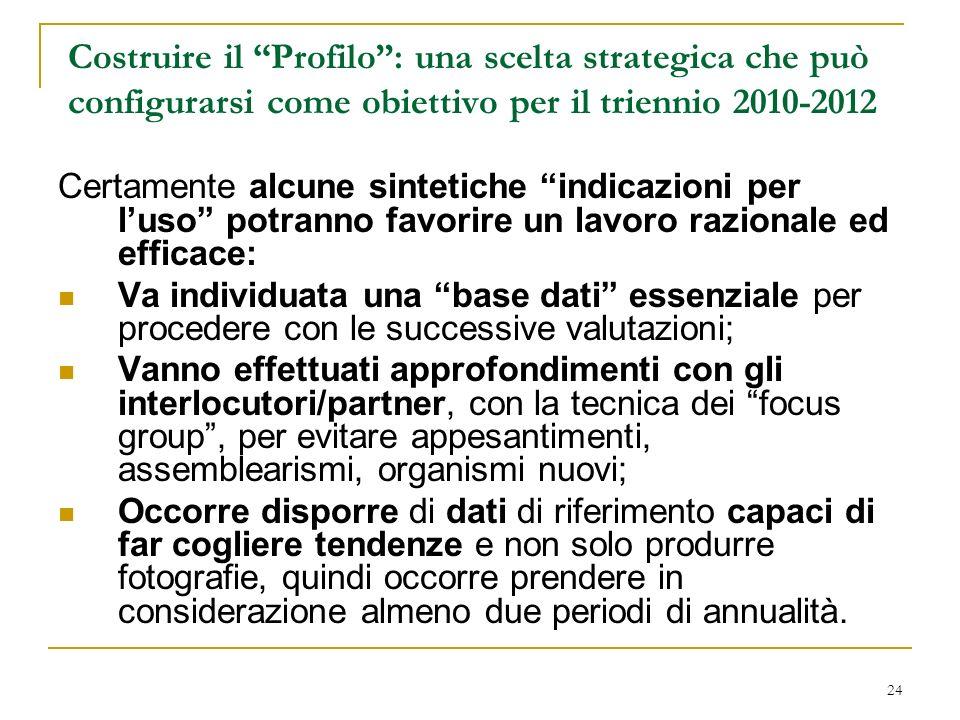 24 Costruire il Profilo: una scelta strategica che può configurarsi come obiettivo per il triennio 2010-2012 Certamente alcune sintetiche indicazioni