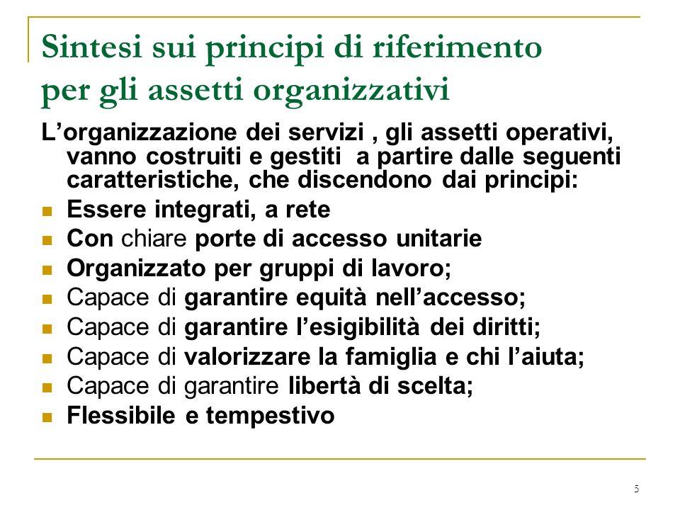 5 Sintesi sui principi di riferimento per gli assetti organizzativi Lorganizzazione dei servizi, gli assetti operativi, vanno costruiti e gestiti a pa