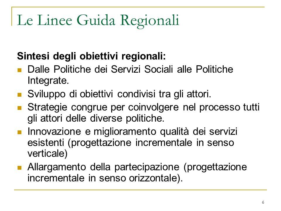 6 Le Linee Guida Regionali Sintesi degli obiettivi regionali: Dalle Politiche dei Servizi Sociali alle Politiche Integrate. Sviluppo di obiettivi cond