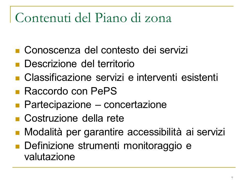 7 Contenuti del Piano di zona Conoscenza del contesto dei servizi Descrizione del territorio Classificazione servizi e interventi esistenti Raccordo c