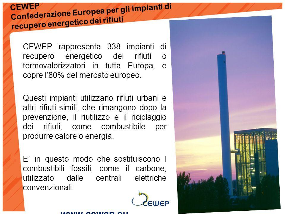 CEWEP Confederazione Europea per gli impianti di recupero energetico dei rifiuti CEWEP rappresenta 338 impianti di recupero energetico dei rifiuti o termovalorizzatori in tutta Europa, e copre l80% del mercato europeo.