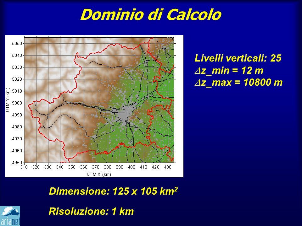 Dominio di Calcolo Dimensione: 125 x 105 km 2 Risoluzione: 1 km Livelli verticali: 25 z_min = 12 m z_max = 10800 m