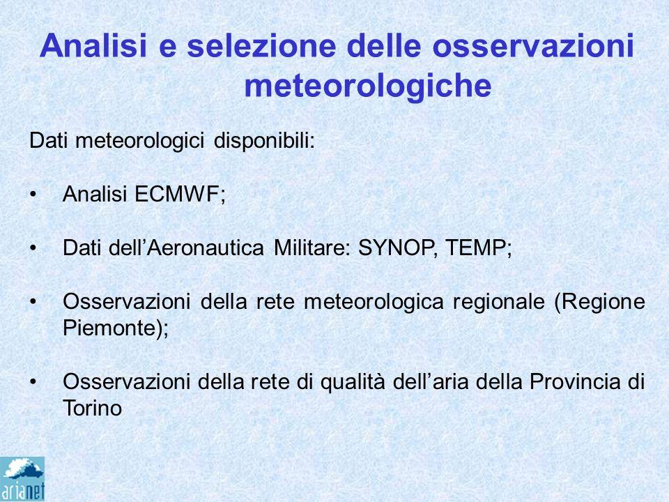 Analisi e selezione delle osservazioni meteorologiche Dati meteorologici disponibili: Analisi ECMWF; Dati dellAeronautica Militare: SYNOP, TEMP; Osser