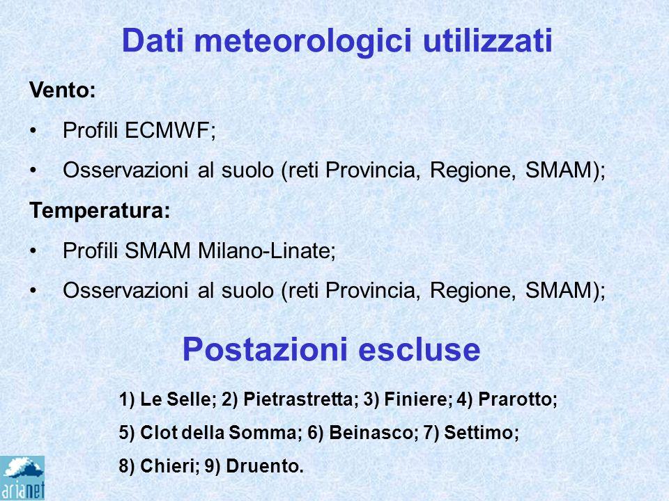 Dati meteorologici utilizzati 1) Le Selle; 2) Pietrastretta; 3) Finiere; 4) Prarotto; 5) Clot della Somma; 6) Beinasco; 7) Settimo; 8) Chieri; 9) Drue